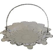 French Cut Glass 19th Century Bowl Basket Engraved Silver Swing Handle