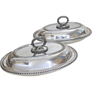 Pair of English 19th Century Entree Serving Dishes Convertible Beaded Edge James Dixon & Sons