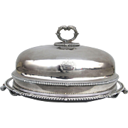 Very Large Old Sheffield Meat Dome Cover and Tray with Hot Water Reserve by Matthew Boulton Family Crest Armorial