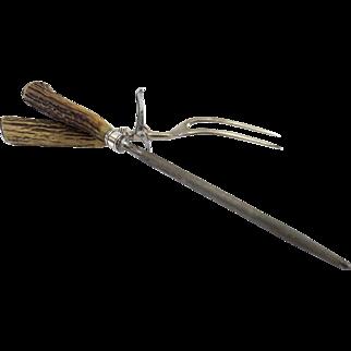 Vintage Antler Horn Sterling Ferrule Knife Sharpener & Meat Carving Fork