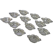 Vintage Set of 12 Gorham Pierced Strasbourg Nut Candy Cups Dishes c 1940