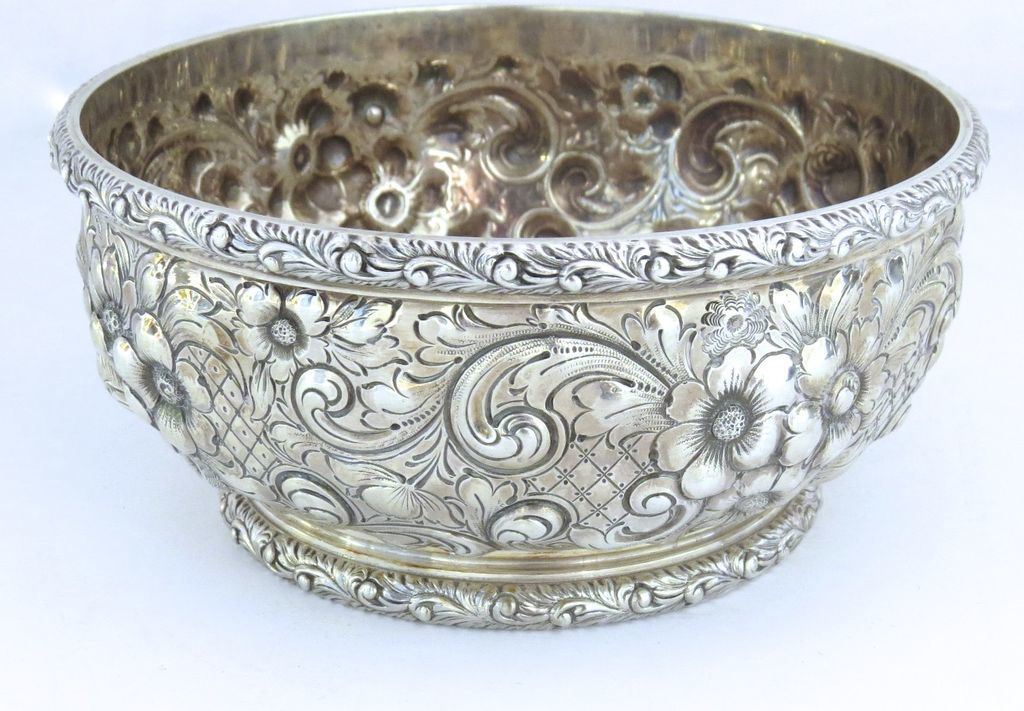Repousse Sterling Bowl J. E. Caldwell 19th century
