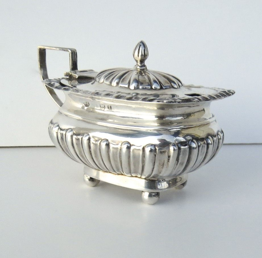 English Sterling Silver Mustard Pot C 1901
