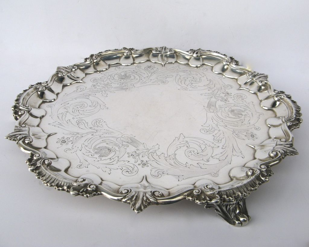 Silver Footed Salver by John Tapley 1843 15""