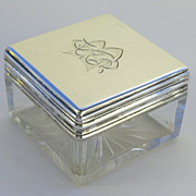 Sterling Silver and Crystal Dressing Case Jar bottle Retailed by Asprey London