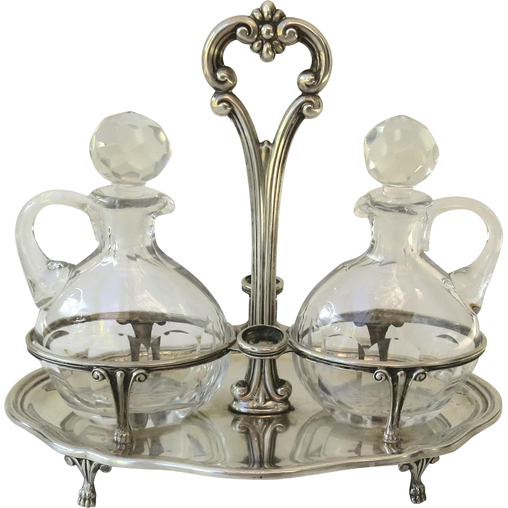 Italian Silver Two Cut Crystal Cruet Stand C1900 Hallmarked Paw Feet