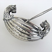 Boat Shaped Tea Strainer with Griffin Lion Heads by Gorham Sterling