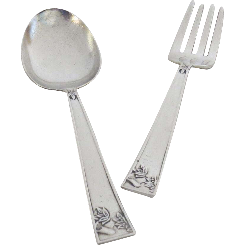 Sterling silver youth child 39 s baby spoon fork from for Sterling silver baby spoon and fork