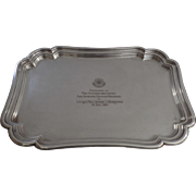 "Vintage 1955 Silver Plated Shaped Rectangular Tray Armored Cavalry Regiment Presentation Engraved ""Toujours Pret"""