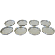 Set of Eight (8) Sterling Silver Glass Vintage Coasters