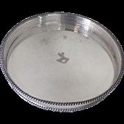 Vintage Round Gallery Drinks Tray Engraved Deer Elk Stag S.2098