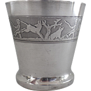 Charming Silver Plated French Child's Deco Cup Beaker Frieze with Animals Man