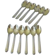 Set of Twelve Gorham Sterling Plymouth Demitasse Spoons 1911