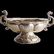 Dutch Silver Hallmarked 17th Century Style Brandy Bowl Hallmarked 19th Century Two Side Handles