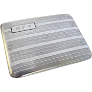 Art Deco Sterling Silver Cigarette Case Machined Initials
