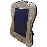 Sterling Silver 925 Repousse Easel Back Picture Frame  (LARGE) Made in Italy Italian