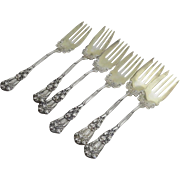 Set of Six (6) Durgin Iris Sterling Silver Salad Forks Gold Wash Retailed Denver, CO  1866-1897  Jervis Joslin and Boyd Park