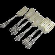 Set of Six (6) Durgin Iris Sterling Silver Salad Forks Gold Wash Retailed Denver, CO  1866-1897  Jervis Joslin and Boyd Park
