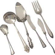 Group Lot Vintage Sterling & Silver Plated Serving Pieces Rogers Alvin Community Ladle Butter Pie