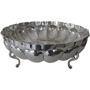 "Large Vintage Sterling Silver Bowl Footed Mellon Ribbed 12"" Diameter Maciel Mid Century Mexico Mexican"