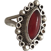 Small Sterling Red Stone Ring Mexico Mexican Size 2.5