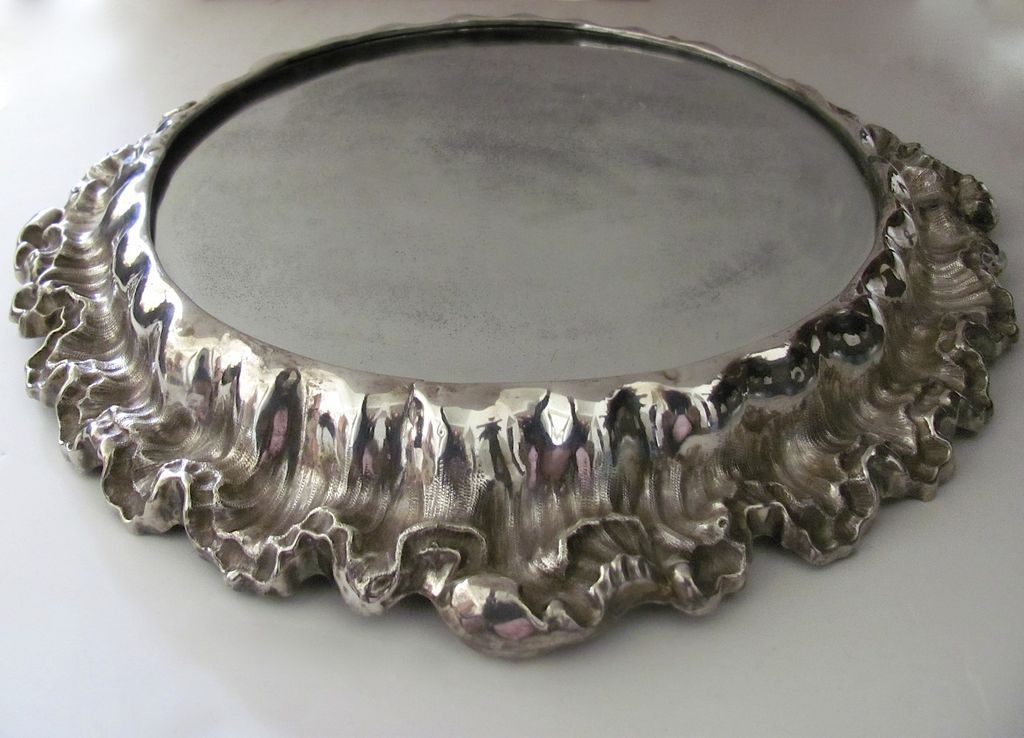 Very Large Rococo Silver Plate Plateau Black Tulip