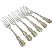 Set of Six (6) Whiting Sterling Louis XV 1891 Forks