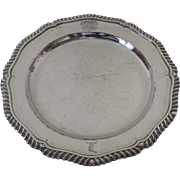 "Old Sheffield Shaped 10"" Plate with Engraved Armorial Family Crest Gadrooned Edge Creswick"