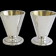 Vintage Sterling Reed & Barton Gold Wash Interior Footed Shot Cordial Glasses