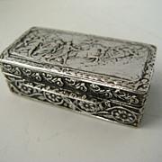 Small Repousse Silver 800 Box Classical Scene