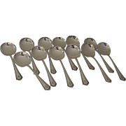 Set of Twelve Gorham Sterling Plymouth Round Bowl Soup Spoons 1911
