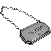 English Sterling Silver Decanter Tag Sherry c 1976
