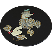 Vintage 1950's Black Lacquered Poodle Plate, Handpainted, Dog, French, Mid Century, Wall Plaque by Margaret Studios in Antigo Wisconson