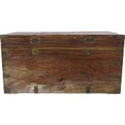 Late 19th Early 20th Century Camphor Wood Trunk Chest Original Paper Label Loong Shing Hong Kong