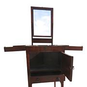 English Mahogany Enclosed Lift Top Dressing Stand