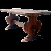 19th Century Italian Walnut Trestle Table