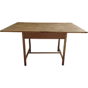 Vintage Pine Tavern Table with H Stretchers and Breadboard Ends Country Primitive Dining Kitchen