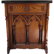 Narrow Pitch Pine Gothic Console Table with Marble Top