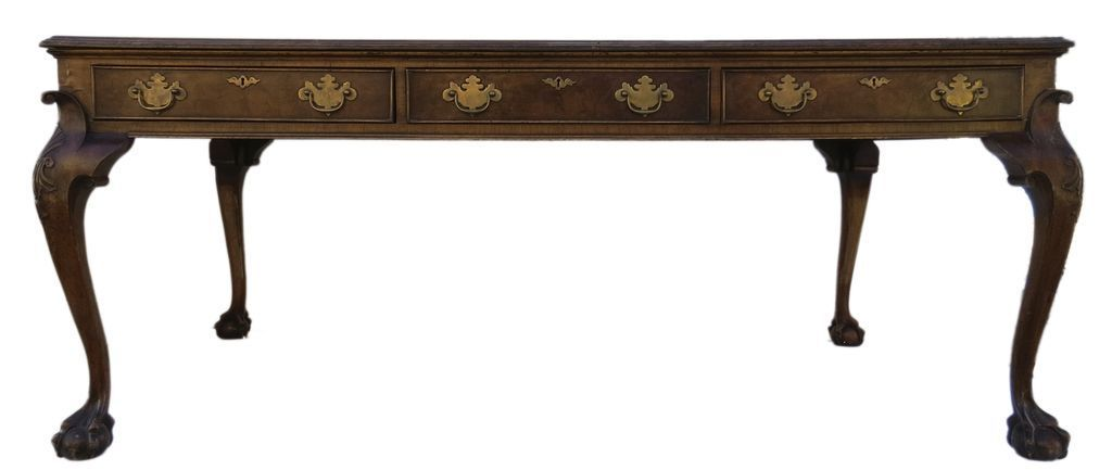 English Walnut Six Drawer Writing Table Leather Top