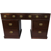 English Small Mahogany Pedestal Desk Leather Top