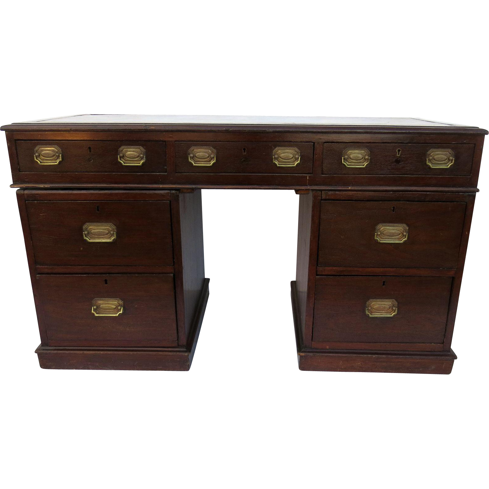 English Small Mahogany Pedestal Desk Leather Top from