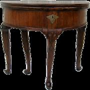 Queen Anne Mahogany Gate Leg Demilune Console Table