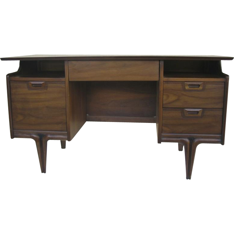 Mid Century Desk by Hammary Walnut