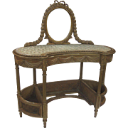 Late 19th Century Early 20th Century Vanity Carved Gilt Attached Mirror