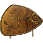 Galle inlaid table with butterflies and flowers.