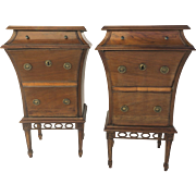19th century pair of Italian Walnut One Drawer One Door Side Cabinets Tables