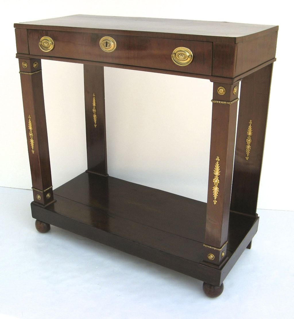 european mahogany petite one drawer console table from blacktulip on ruby lane. Black Bedroom Furniture Sets. Home Design Ideas