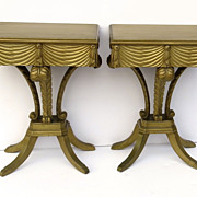 Vintage Gilt Plumes Feather Side Tables