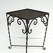 Vintage Iron Garden Table with Aqua Blue Tile Top