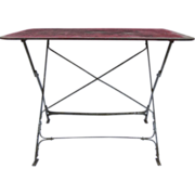 French Folding Bistro Table Red Paint